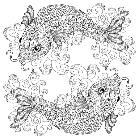 Illustration pour Koi fish. Chinese carps. Pisces. Adult antistress coloring page. Black and white hand drawn doodle for coloring book - image libre de droit