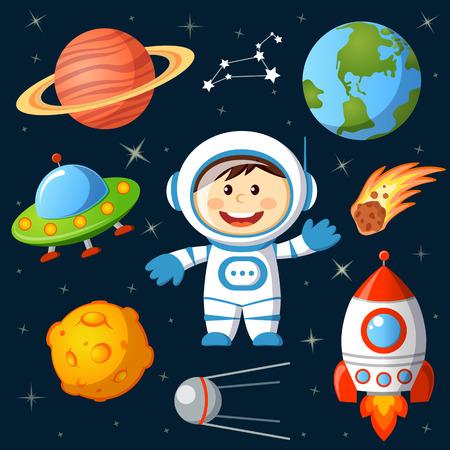 Illustration pour Set of space elements. Astronaut, Earth, saturn, moon, UFO, rocket, comet, constellation, sputnik and stars - image libre de droit