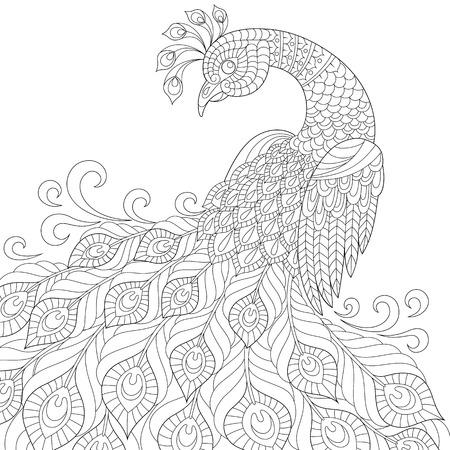 Illustration pour Decorative peacock. Adult anti-stress coloring page. Black and white hand drawn doodle for coloring book - image libre de droit