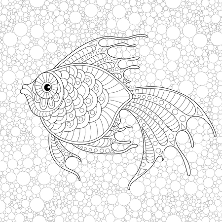 Golden fish. Adult antistress coloring page. Black and white  doodle for coloring book