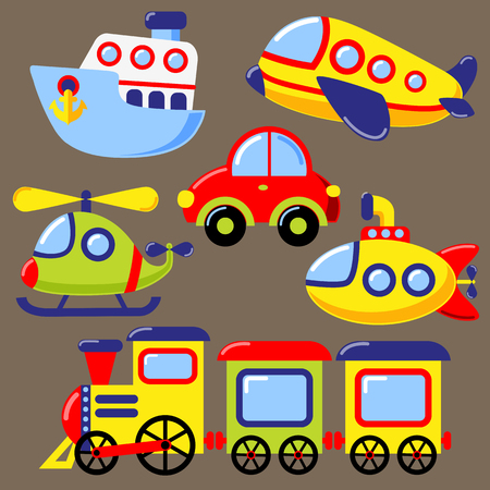Set of cartoon transport icon. Car, submarine, ship, plane, train, helicopter