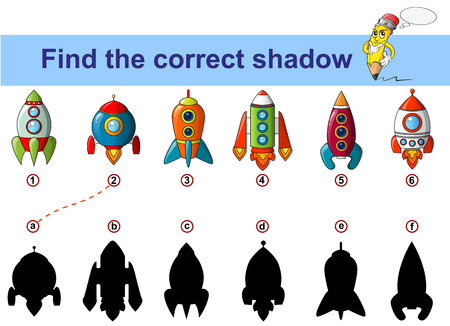 Find correct shadow. Kids educational game. Spaceship. Rocket