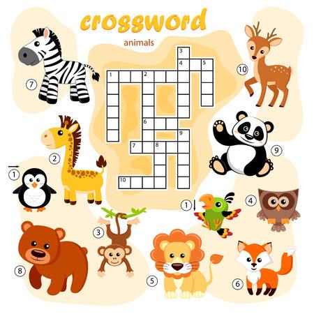 Illustration pour Crossword puzzle game of animals. Panda, fox, deer, bear, owl, giraffe, lion, zebra, monkey, parrot, penguin - image libre de droit