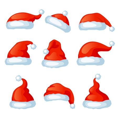 Illustration for Vector set of red santa hats. Xmas photo booth. Merry Christmas and Happy New Year - Royalty Free Image