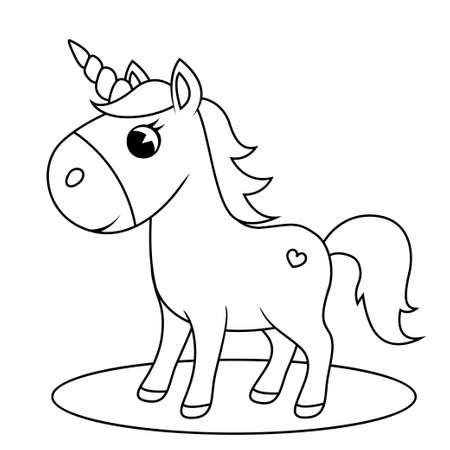 Illustration pour Cute little unicorn. Black and white vector illustration for coloring book - image libre de droit