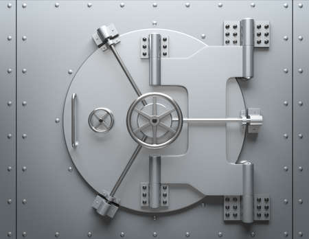 Bank vault closed. Computer generated image. For security issues.