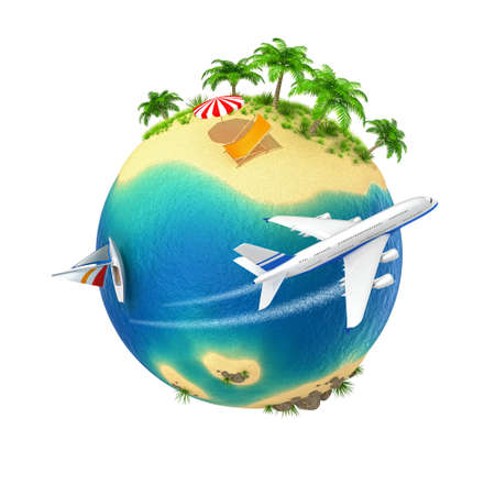 Little planet with a tropical island isolated on white background  Computer generated image