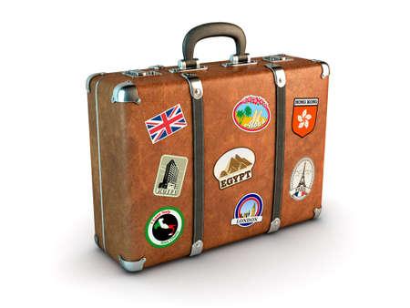 Foto de Travel Suitcase with stickers Computer generated image  - Imagen libre de derechos