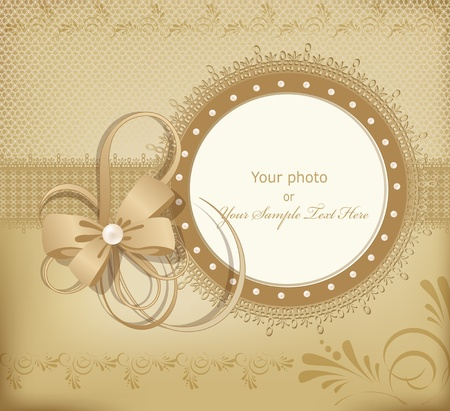 Foto de gold greeting wedding frame for photo with a bow, pearls and lace - Imagen libre de derechos