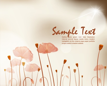 vector vintage background with poppies