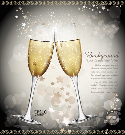 New Year background with two glasses of wine, the stars