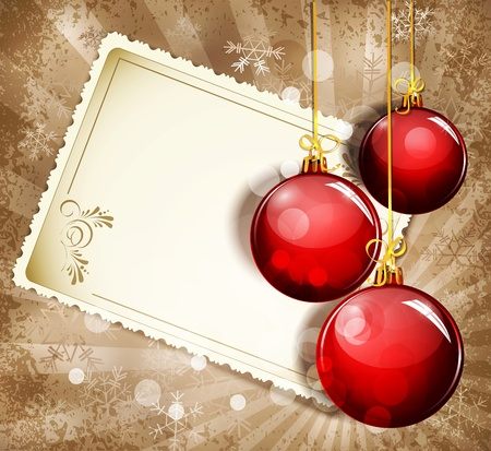 Vintage, grunge background with snowflakes, greeting cards and red  New Year balls