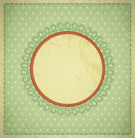 grunge, vintage background with a circular frame and lace