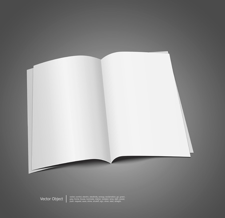 magazine blank, page template for design on gray background