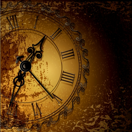 Illustration pour Vector grunge abstract background with antique clocks - image libre de droit