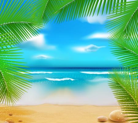 Illustration pour landscape with a sky-blue ocean, golden sands and palm trees - image libre de droit