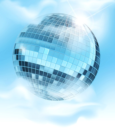 vector background with a mirrored disco ball reflecting blue sky and clouds