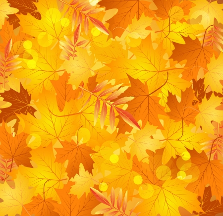 Vector spring background with golden leaves