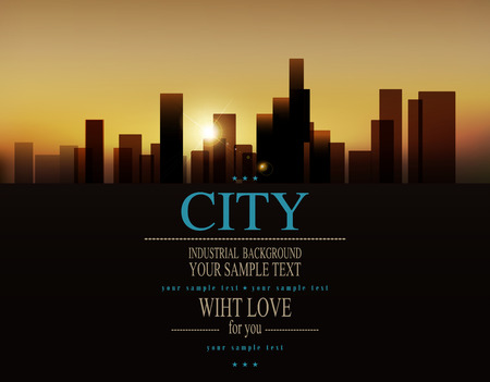 Foto de vector background with urban landscape (buildings and sunrise) - Imagen libre de derechos