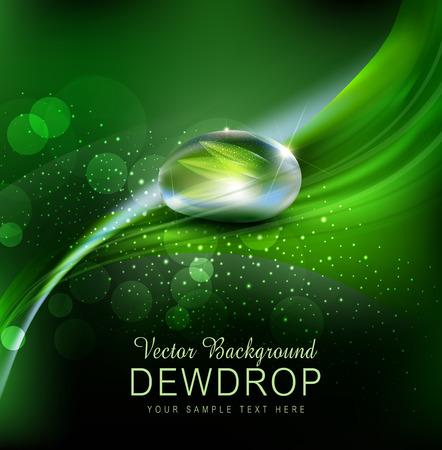 Ilustración de Vector green background with leaves and dew drops on the dark background - Imagen libre de derechos