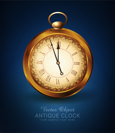vector vintage pocket watch on a blue background