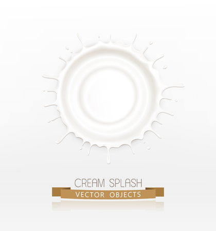 vector isolated splash of sour cream