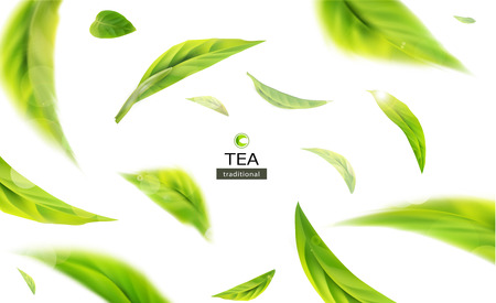 Illustration for Vector 3d illustration with green tea leaves in motion on a white background. Element for design, advertising, packaging of tea products - Royalty Free Image