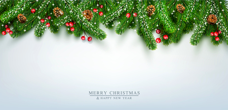 Illustration pour Vector illustration for Merry Christmas and Happy New Year . Greeting card with New Year's with  green branches of pine, snow, coneson  on grey background. Template,  postcard, flyer, congratulatory, brochure - image libre de droit