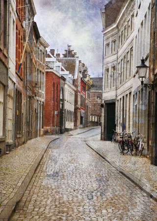 Streets of Maastricht, Netherlands. Made in artistic vintage style