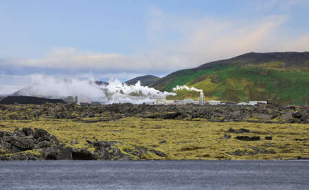 Landscape of geothermal power station and geothermal sources  in Iceland