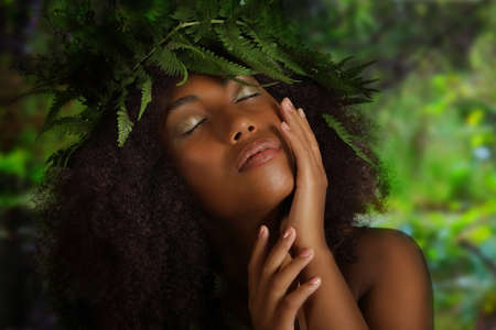 Photo for Sensual portrait of a beautiful young black woman on the nature background - Royalty Free Image
