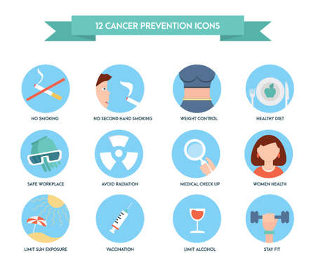 Cancer prevention icons. Healthcare and medical icon set.