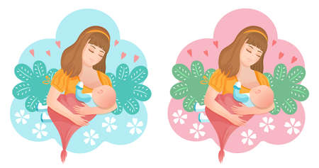 Illustration for Woman breastfeeding newborn baby icon set. Mom holds her little son or daughter in arms and feeds with breast. Child sucks milk. Concept lactation, motherhood, childbirth. Colorful cartoon flat vector - Royalty Free Image