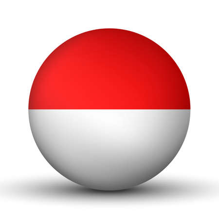 Illustration pour Glass light ball with flag of Indonesia. Round sphere, template icon. Indonesian national symbol. Glossy realistic ball, 3D abstract vector illustration highlighted on a white background. Big bubble - image libre de droit