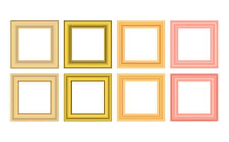 Illustration pour Squared golden vintage wooden frame for your design. Vintage cover. Place for text. Vintage antique gold beautiful rectangular frames. Template vector illustration - image libre de droit