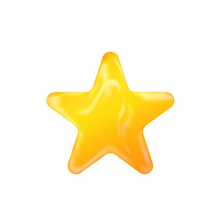 Photo pour 3D golden realistic star isolated on white background. Festive holiday icon. Celebration concept, metallic gold shape. Invitation mock up - image libre de droit