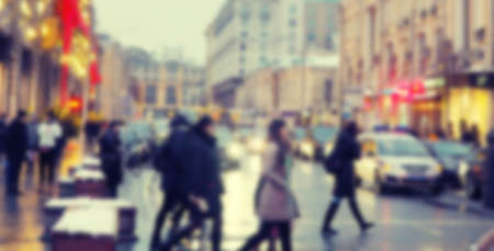 Photo pour banner for web blurred road in big city, evening city, people, shops in lights. - image libre de droit