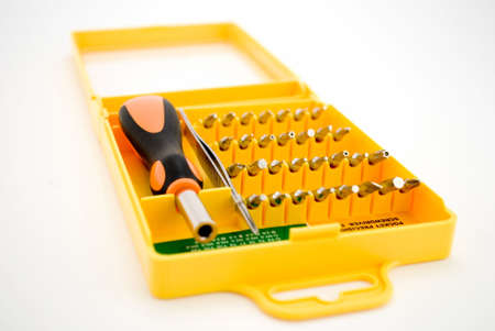 Set of screw-drivers. An orange box