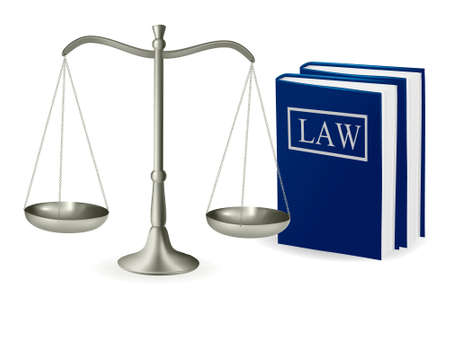 Brass scales of justice and law books . Vector illustration.