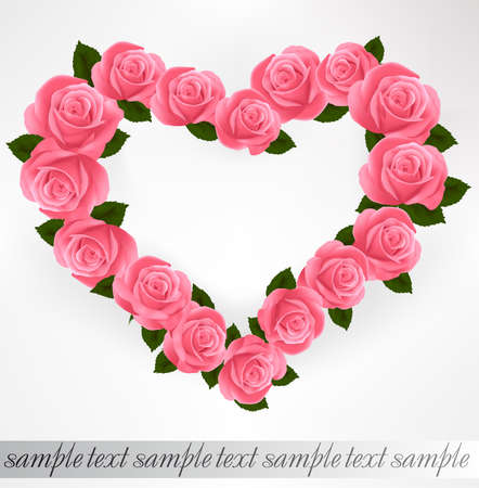 Pink roses Heart shape. Vector illustration.