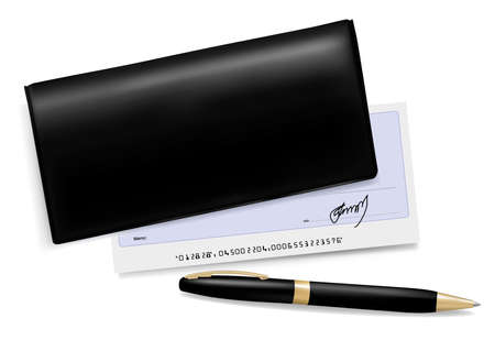 Black checkbook with check and pen. Vector illustration.