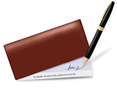 Checkbook with check and pen. Vector illustration.