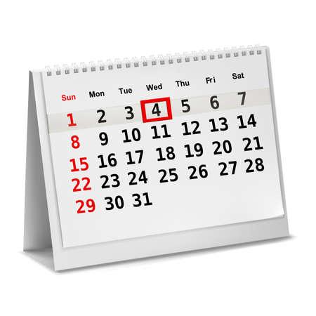 Desktop calendar with a marked date. Vector.