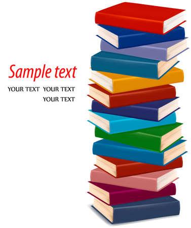 Illustration pour  Stack of colorful books  - image libre de droit