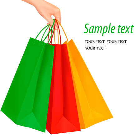 Woman hand carrying a bunch of shopping bags, isolated on white. Vector