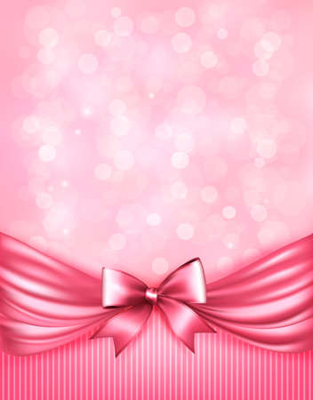 Illustration pour Holiday pink background with gift glossy bow and ribbon - image libre de droit