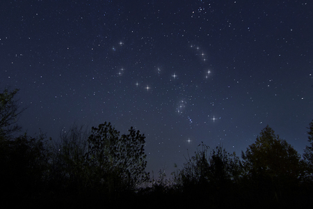 Constellation of Orion in night sky, The Hunter