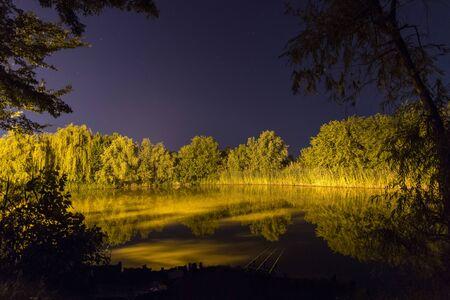 Beautiful Night Reflection on lake, Nightfishing
