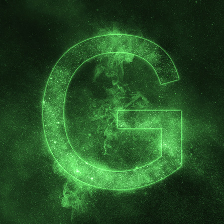 Letter G alphabet symbol. Space Letter, Night Sky Letter.
