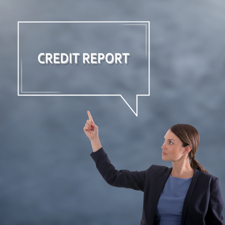 CREDIT REPORT Business Concept. Business Woman Graphic Concept